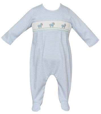 Petit Bebe Knits Baby Boys Blue Striped Footie - Smocked Baby Lambs