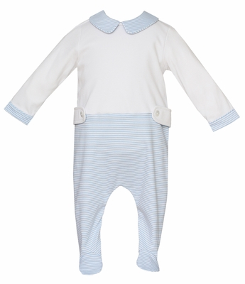 Petit Bebe Knits Baby Boys Blue Striped Footie with Collar and Tabs