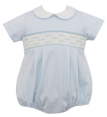 Petit Bebe Knits Baby Boys Blue Knit Smocked Bubble with Collar