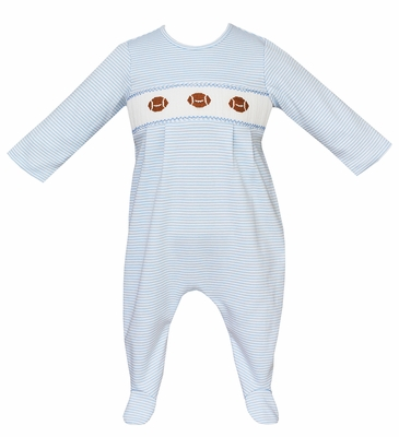 Petit Bebe Knits Baby Boys Blue Striped Smocked Footballs Footie