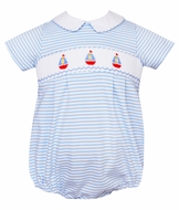 Petit Bebe Knits Baby Boys Blue Striped Smocked Sailboats Bubble - Boy