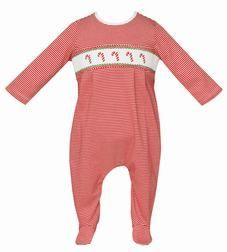 Petit Bebe Knits Baby Boys Red Striped Smocked Candy Canes Footie