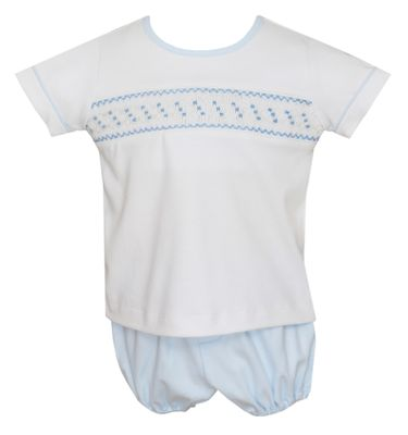 Petit Bebe Knits Baby Boys White Diaper Set - Smocked in Blue