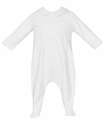 Petit Bebe Knits Baby Boys White Footie with Collar - Smocked in White