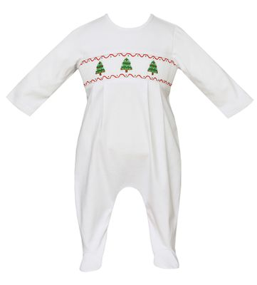 3df82ea7f Petit Bebe Knits Baby Boys White Knit Smocked Christmas Trees Footie - Boy