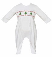 Petit Bebe Knits Baby Boys White Knit Smocked Christmas Trees Footie - Boy