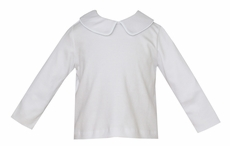 Petit Bebe Knits Baby Boys White Knit Shirt - Long Sleeves