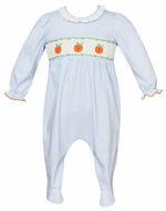 Petit Bebe Knits Baby Girls Blue Check Smocked Pumpkins Ruffle Footie - Girl