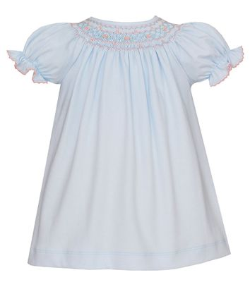 Petit Bebe Knits Baby Girls Blue Smocked Dress - Bishop