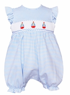 Petit Bebe Knits Baby Girls Blue Striped Smocked Sailboats Bubble - Girl