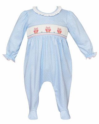 Petit Bebe Knits Baby Girls Blue / White Dots Footie - Smocked Pink Owls