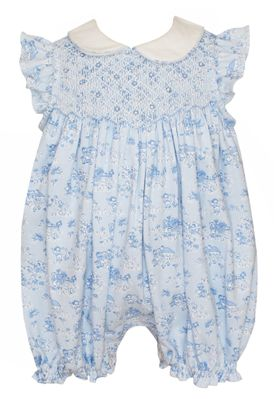 Petit Bebe Knits Baby Girls French Blue Toile Knit Smocked Bubble