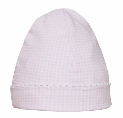 Petit Bebe Knits - Baby Girls Hat - Pink Mini Check with White Picot Trim