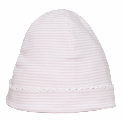 Petit Bebe Knits - Baby Girls Hat - Pink Stripe with White Picot Trim