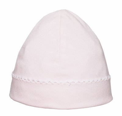 Petit Bebe Knits - Baby Girls Hat - Pink with White Picot Trim