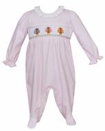 Petit Bebe Knits Baby Girls Pink Check Smocked Thanksgiving Turkeys Footie