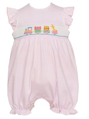 Petit Bebe Knits Baby Girls Pink Check Smocked Toy Animals Parade Bubble