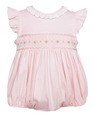 Petit Bebe Knits Baby Girls Pink Smocked Ruffle Collar Bubble