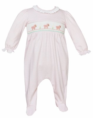 Petit Bebe Knits Baby Girls Pink Striped Footie - Smocked Baby Lambs