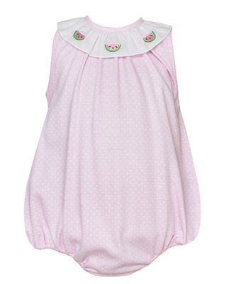Petit Bebe Knits Baby Girls Pink / White Dots Watermelon Bubble
