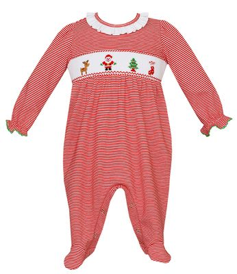 Petit Bebe Knits Baby Girls Red Stripe Smocked Santa Footie - Girl