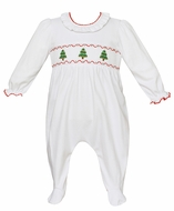 Petit Bebe Knits Baby Girls White Knit Smocked Christmas Trees Footie - Girl