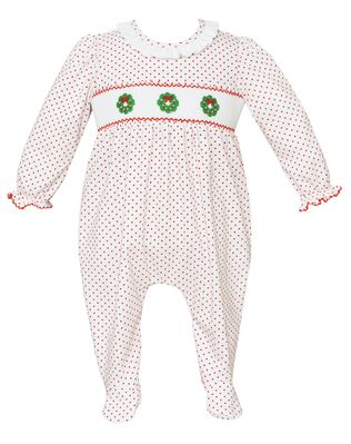 Petit Bebe Knits Baby Girls White / Red Dots Smocked Christmas Wreaths Footie