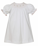 Petit Bebe Knits Baby Girls White Dress Pink Smocking - Bishop