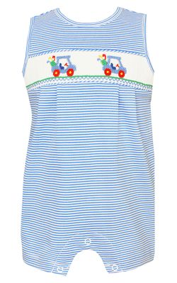 Petit Bebe Knits Baby / Toddler Boys Royal Blue Stripe Smocked Golf Romper