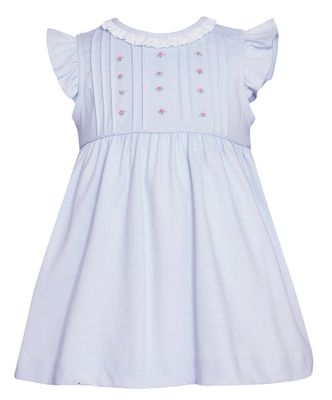 Petit Bebe Knits Baby / Toddler Girls Blue Embroidery Dress with Ruffle Collar