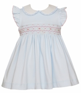 Petit Bebe Knits Baby / Toddler Girls Blue Knit Smocked Dress