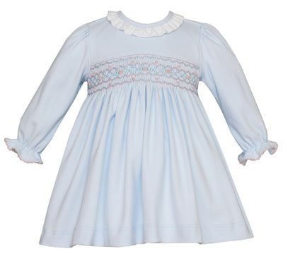Petit Bebe Knits Baby / Toddler Girls Blue Smocked Dress - Ruffle & Long Sleeves