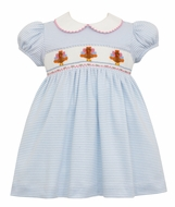Petit Bebe Knits Baby / Toddler Girls Blue Stripe Knit Smocked Turkeys Dress with Collar