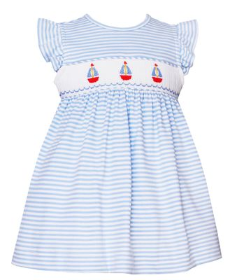 Petit Bebe Knits Baby / Toddler Girls Blue Striped Smocked Sailboats Dress