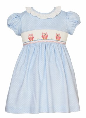 Petit Bebe Knits Baby / Toddler Girls Blue / White Dots Knit Dress - Smocked Pink Owls