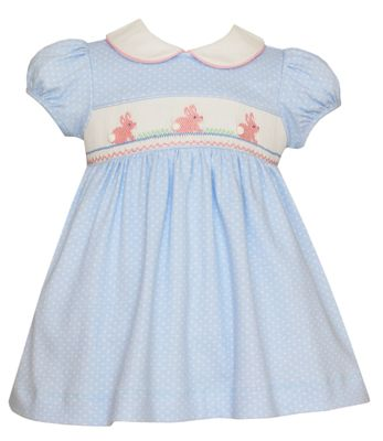 Petit Bebe Knits Baby / Toddler Girls Blue / White Dots Knit Smocked Easter Bunny Dress with Collar