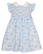 Petit Bebe Knits Baby / Toddler Girls French Blue Toile Knit Smocked Dress with Collar
