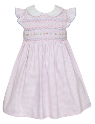 Petit Bebe Knits Baby / Toddler Girls Pink Check Smocked Dress with Collar