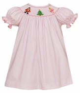 Petit Bebe Knits Baby / Toddler Girls Pink Check Smocked Nutcracker Dress - Bishop