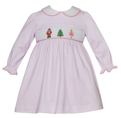 Petit Bebe Knits Baby / Toddler Girls Pink Check Smocked Nutcracker Dress - Collar - Long Sleeves