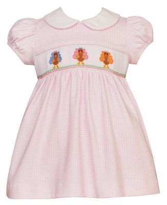 Petit Bebe Knits Baby / Toddler Girls Pink Check Smocked Thanksgiving Turkeys Dress - Collar