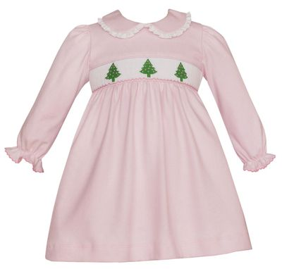 Petit Bebe Knits Baby / Toddler Girls Pink Smocked Christmas Trees Dress - Collar - Long Sleeves