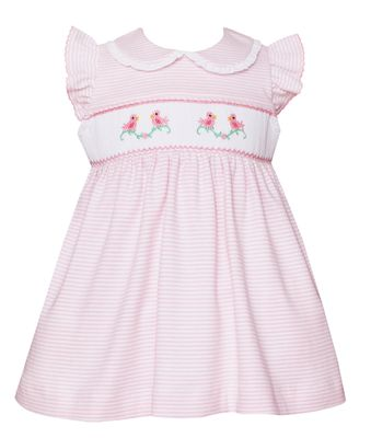 Petit Bebe Knits Baby / Toddler Girls Pink Stripe Smocked Baby Birds Dress - Collar & Ruffle Sleeves