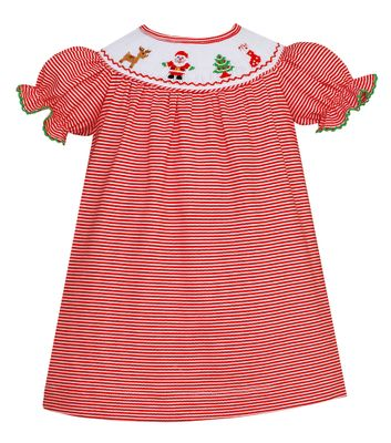 Petit Bebe Knits Baby / Toddler Girls Red Stripe Smocked Santa Dress - Bishop