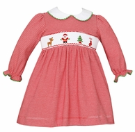 Petit Bebe Knits Baby / Toddler Girls Red Stripe Smocked Santa Dress - Collar - Long Sleeves