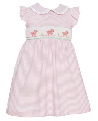 Petit Bebe Knits Baby / Toddler Girls Smocked Baby Lambs Dress - Collar & Ruffle Sleeves - Pink Stripe