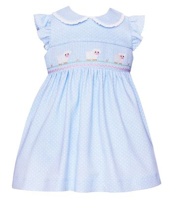 Petit Bebe Knits Baby / Toddler Girls Smocked Lambs Dress - Collar & Ruffle Sleeves - Blue / White Dots