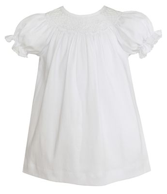 Petit Bebe Knits Baby / Toddler Girls White Knit Smocked Bishop Dress