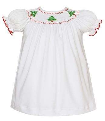 Petit Bebe Knits Baby / Toddler Girls White Knit Smocked Christmas Trees Dress - Bishop