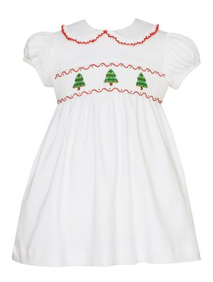 4ddbe9d48 Petit Bebe Knits Baby / Toddler Girls White Knit Smocked Christmas Trees  Dress - Collar